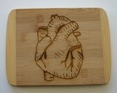 Heart Engraved Bamboo Cutting Board Anatomical Heart Etched Bar Board Laser Engraved