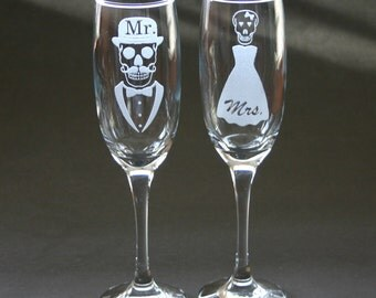 Etched Mr Skull Mrs Skull Flutes Champagne Glasses Engraved His Hers Weddings Mustache Top Hat