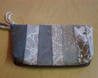 OOAK Patchwork Stripe Zipper Pouch / Cosmetic Bag / Sewing Tool Bag