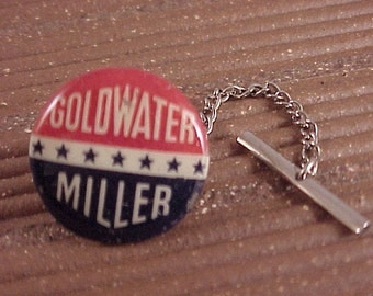 Tie Tack Goldwater Miller Vintage Political Campaign Button - Free Shipping to USA