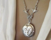 Heart,Locket,Romantic Jewelry, Silver Locket Necklace,Victorian Locket, Heart Jewelry,Antique Locket, Lily of the Valley,Valentines Day Gift