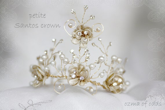 elegant crystal and pearl petite crown - santos adornment