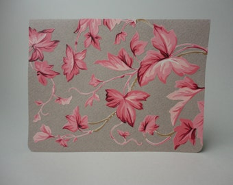 Pink Ivy Note Card, Original Hand Cut Vintage Wallpaper, Shades of Pink Leaves and Gray, Romantic, OOAK, Spring, Summer, Wild Garden