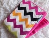 Baby burp cloth - hot pink colorful chevron stripe hand dyed burp cloth