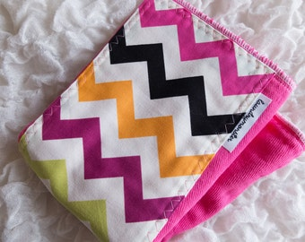 Baby burp cloth - hot pink colorful chevron stripe hand dyed burp cloth