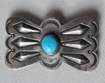 Vintage Sterling and Turquoise Old Pawn Navaho Pin RS Hallmarked Southwestern Brooch Sand Cast Sterling Silver Brooch