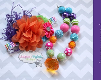 Chunky Necklace { Rainbow Riddles } Lime, Pink, orange, purple, headband & necklace set, First birthday, Summer, Cake smash photography prop
