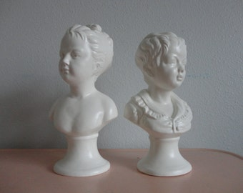 VINTAGE white ceramic victorian style BOY and GIRL bust figurines
