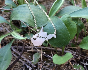 West Virgina sterling silver WV state necklace- on 16 or 18 inch sterling chain- custom made- home cutout