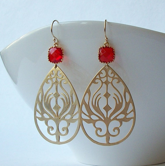 LAST ONE Red and Gold Dangle Earrings
