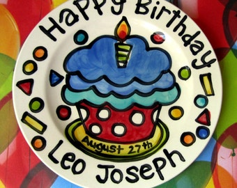 "Happy Birthday polka dot  cupcake personalized Plate custom ceramic plate 7"" or 10"""