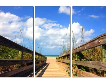 Florida Beach Boardwalk Canvas Triptych, 3 Panel Fine Art, LARGE, Ready to Hang