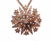 Final Payment - Layaway - Please do not Purchase - ANTIQUE VICTORIAN 18K Gold, Diamond & Natural Pearl Starburst Pendant/Pin