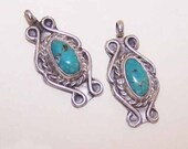 On Reserve - Sterling Silver Earrings, Native American Earrings, Silver Drops, Turquoise Drops, Silver Turquoise Drops, Pendants