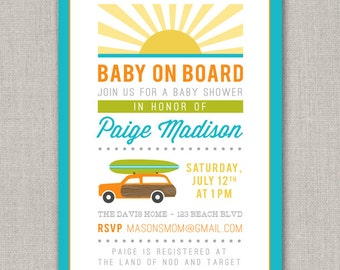 Surf's Up Baby Shower Invitation