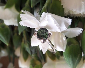 Veronique, Engagement or Right Hand Ring in 18k White Gold with Natural Green Tourmaline, Ready to Ship