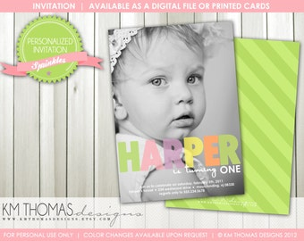 1st Birthday Invitation - Girl Photo Birthday Invitation - Girl Party - Girl Milestone Birthday Invitation - Printable - Item BD102