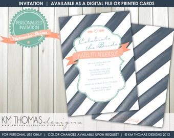 WATERCOLOR STRIPES...Custom Printable Shower Invitation...by KM Thomas Designs Item 182