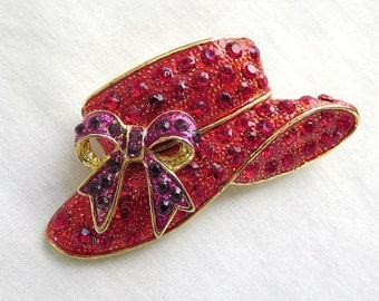 Vintage Red Hat Brooch With Red And Purple Rhinestones