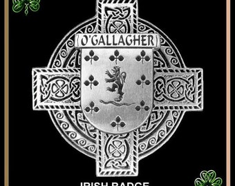 Irish Coat Of Arms Badge Celtic Cross Family Crest Pin
