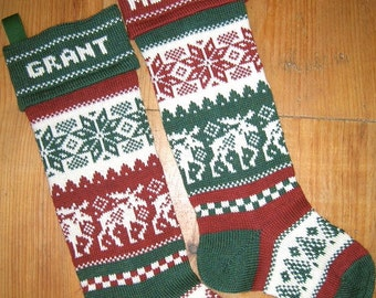 Personalized Christmas Stocking, moose, with choice of cuff color