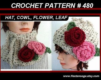 Hat and Scarf pattern - Crochet Hat pattern - Womens Accessories -  DIY Cowl and Cloche, hat crochet pattern, crochet pattern hat,   num 480