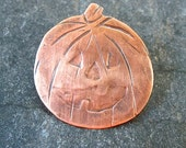 Halloween Pumpkin Jack O Lantern Brooch Oxidized Copper Pin Fall Fashion Jewelry