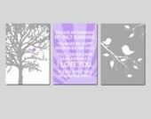 Baby Bird Nursery Art Trio - Baby Bird in Tree, You Are My Sunshine, Baby Birds on Branch - Set of Three 5x7 Prints - CHOOSE YOUR COLORS