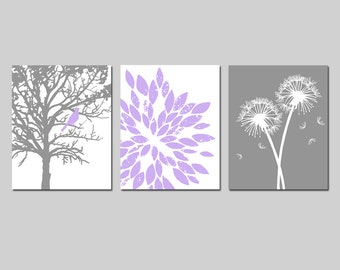 Lavender Purple Gray Baby Girl Nursery Art Trio - Bird in a Tree, Abstract Floral, Dandelions - Set Three 8x10 Prints - CHOOSE YOUR COLORS