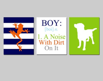Baby Boy Nursery Art Decor - Boy A Noise With Dirt On It - Set of Three 8x10 Prints - Frog and Puppy Dog - CHOOSE YOUR COLORS