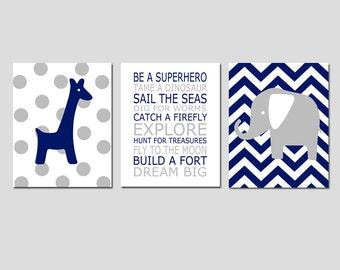 Baby Boy Nursery Art - Chevron Elephant, Be A Superhero Quote, Polka Dot Giraffe - Set of Three 11x14 Prints - Choose Your Colors