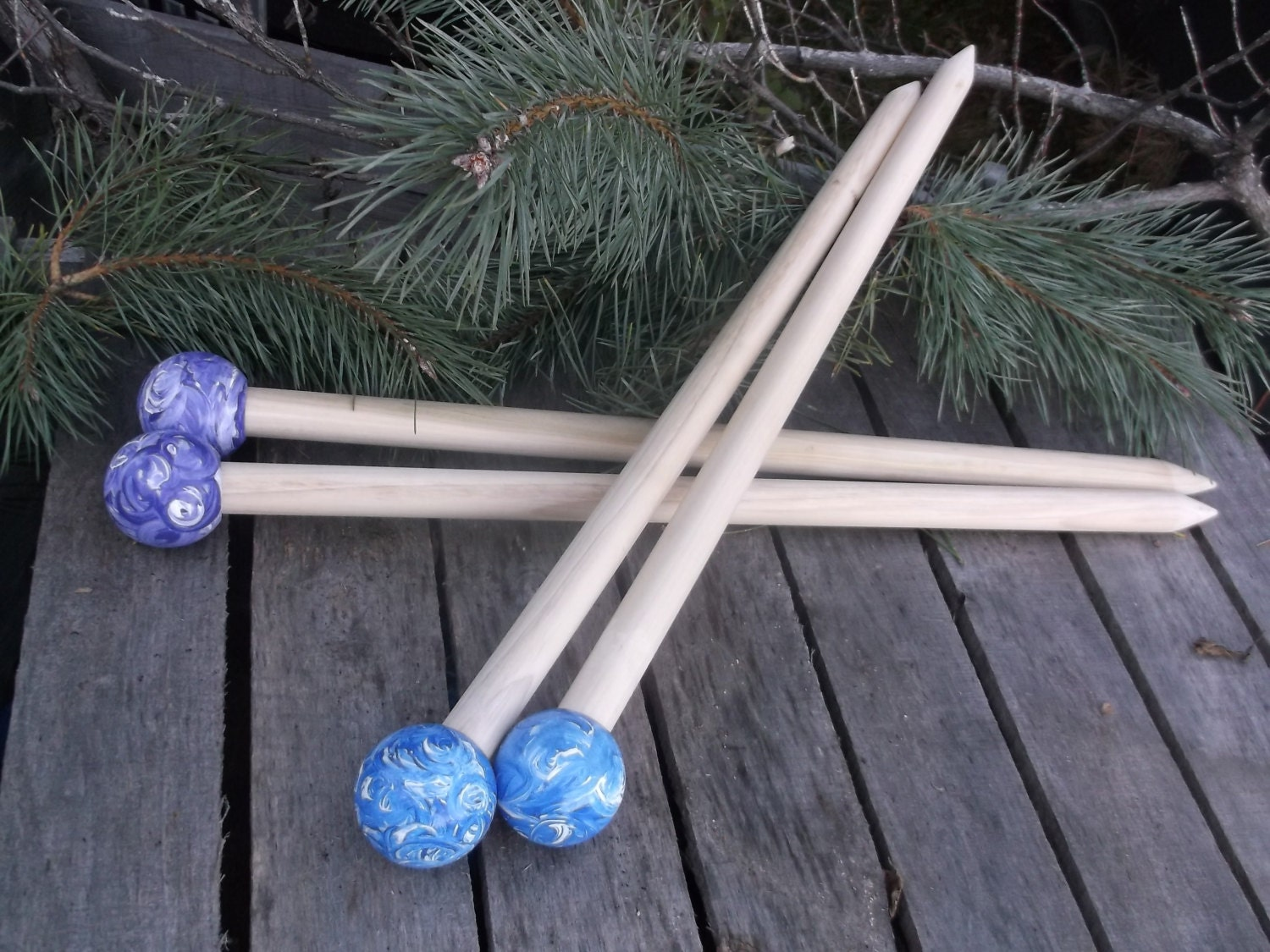 Wooden Knitting Needles : Big Knitting Needles Wood Size 50 1 inch or 25 by TheHickoryTree