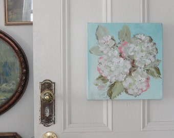White Flower painting, Hydrangea Flowers painting, Hand painted Floral art, Original  painting