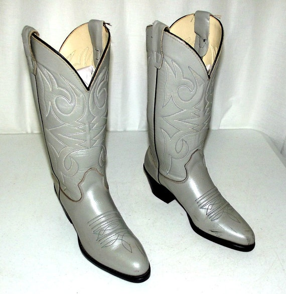 vintage light grey cowboy boots womens size by