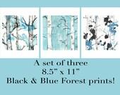 Birch Trees Prints, Set of 3 Prints, Living Room Art, Prints Illustrations, Bedroom Art, Landscape Prints, Watercolor Prints, Forest, 8.5x11