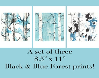 Birch Trees Prints, Set of 3 Prints, Living Room Art, Prints Illustrations, Bedroom Art, Landscape Prints, Watercolor Prints, Forest, 8.5x11