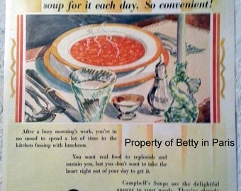 1929 Campbell's Vegetable Soup Ad Beautiful Vintage Place Setting/Table