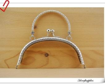 16cm x 7.5 cm ( 6.25 x  3 inch ) Nickel sewing purse frame  handbag frame  Z54