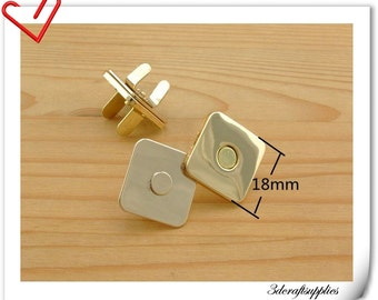 18mm square Light gold purse Magnetic Snap, magnetic snaps Closure - Pack of 20sets F68