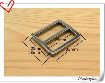 1 inch (inner size) Gunmetal  alloying rectangle sliders strap adjuster 10pcs 3mm thickness   U9