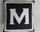 Mid night blue monogrammed pillow . Pasanaliaiz monogram.  Midnight blue monogram. Custom  made. Choce of your letter.  18inch.