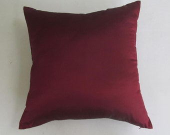 burgundy peur dupioni  silk throw pillow ready to ship 16 inch last  2in stock. on  sale. 30% off