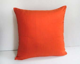 orange peur silk pillow STOCK CLEARANCE- 40% OFF bright orange pillow cover. dupioni silk  18 inch last  one  in  stock