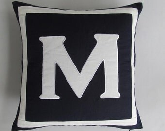 black  monogram pillow cover. letter  pillow.. custom  made alfabut pillow. chose  your monagram .  custom  made 18 inch.