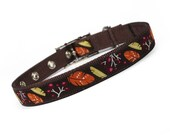 SALE - brown and orange fall feathers metal buckle dog collar (3/4 inch)