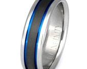 Titanium Wedding Band - Thin Blue Line Ring - Custom Ring - sa12
