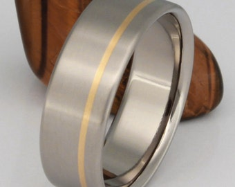 Gold Titanium Wedding Ring, Man's Wedding Band, Woman's Wedding Band, His and Hers Ring, Handcrafted Wedding Ring - g6