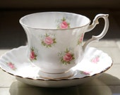 Vintage Royal Albert Forget Me Not series rose teacup with matching saucer
