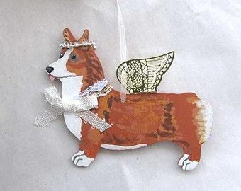 Hand-Painted WELSH CORGI PEMBROKE Red/White Metal Wing Angel Wood Ornament....Artist Original