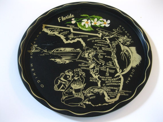 Vintage Florida souvenir serving tray black with gold graphics - 1950s bathing beauty